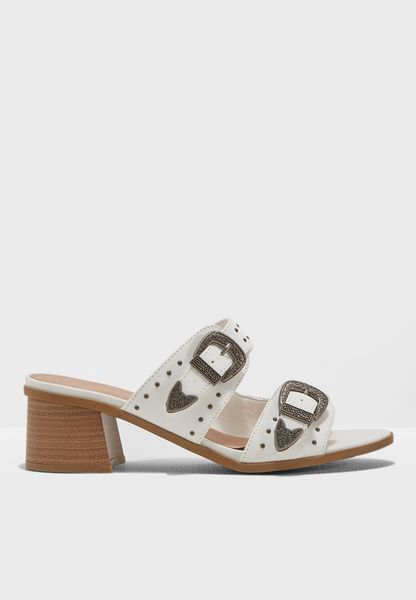 Two Strap Maxi Buckle Mule