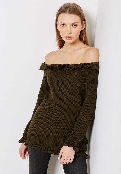 Ruffle Trim Bardot Sweater
