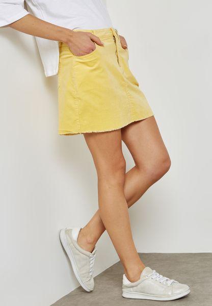 Frayed Hem  Velvet Skirt