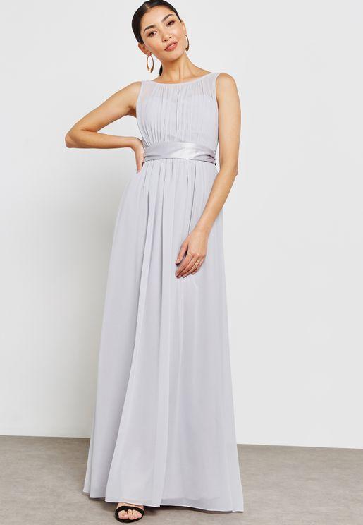Pleated Sleeveless Belted Bridesmaid Maxi Dress