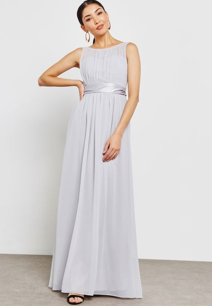 Pleated Sleeveless Belted Bridesmaid Maxi Dress