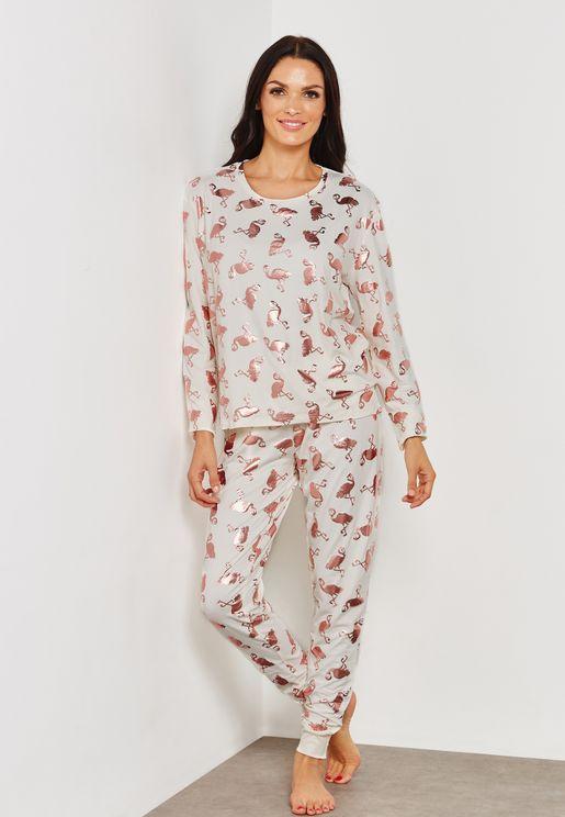 Flamingo Print Pyjama Set