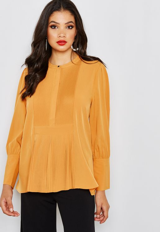Pleated Front Long Sleeve Top