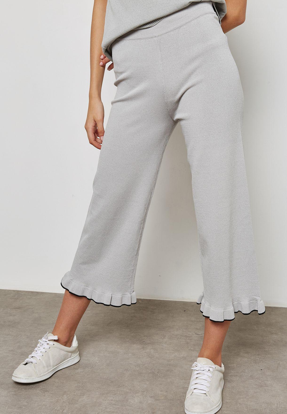 Detailed Ruffle Hem Cropped Pants Set