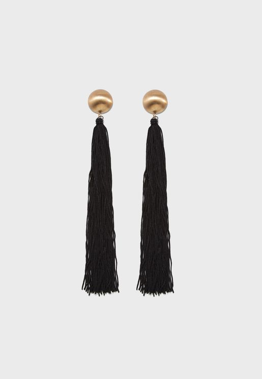 Dome Top Extreme Tassel Earrings