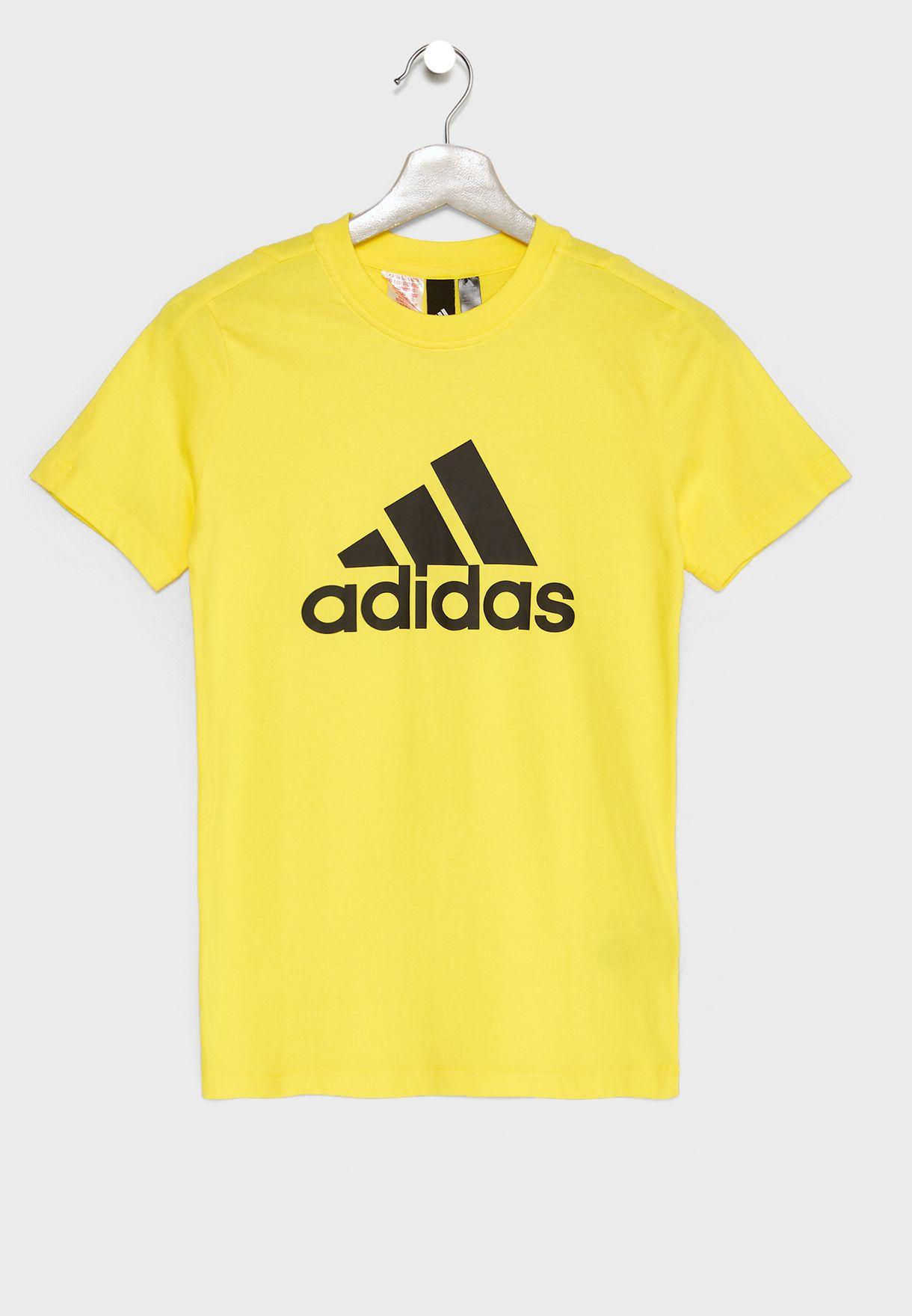 96791e274850 Shop adidas yellow Youth Logo T-Shirt DJ1777 for Kids in Saudi ...