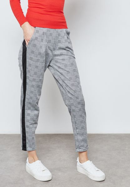 Side Striped Checked Pants