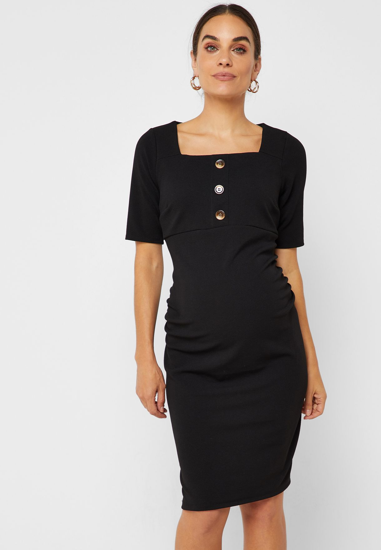 a689cad222358 Shop Dorothy Perkins Maternity black Square Neck Button Front ...
