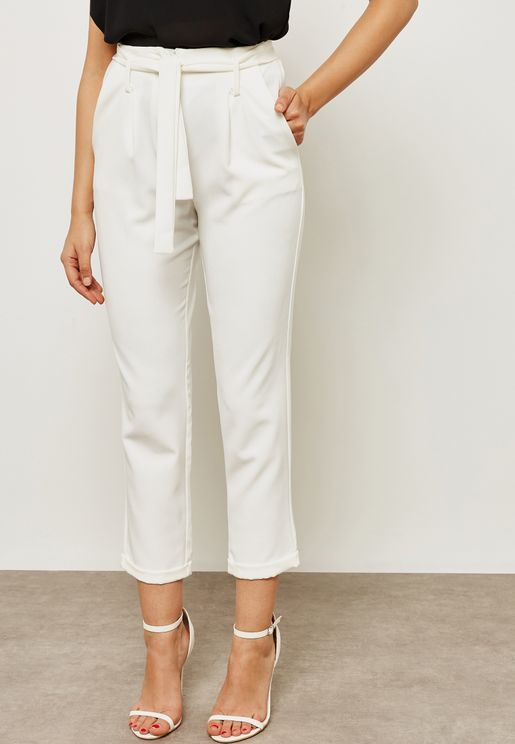 High Waisted Self Tie Pants
