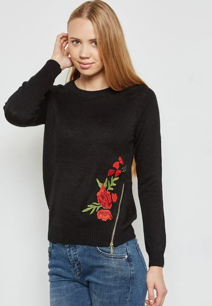 Embroidered Side Zip Sweater