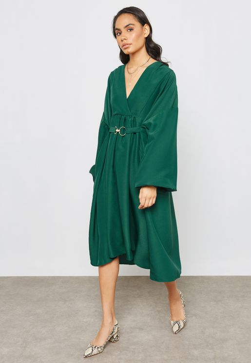 Gathered Sleeve Buckle Detail Dress