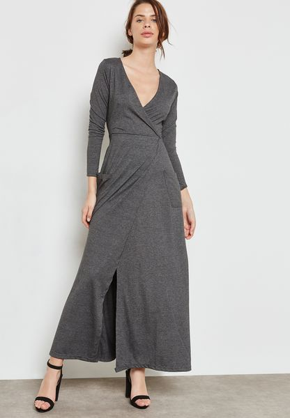 Wrap Front Tie Maxi Dress
