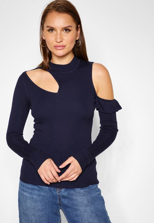 Long Sleeve Cut Out Frill Detail Sweater