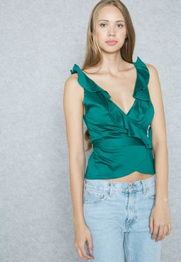 Plunge Neck Frill Detail Top