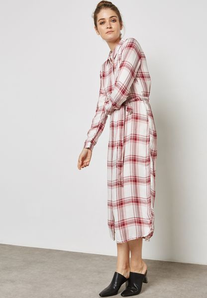 Checked Tie Waist Dress
