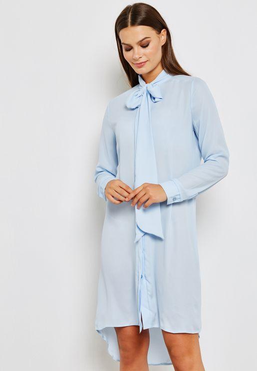 Tie Neck Shirt Dress
