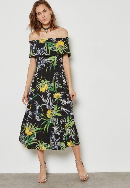 Floral Print Ruffle Bardot Dress