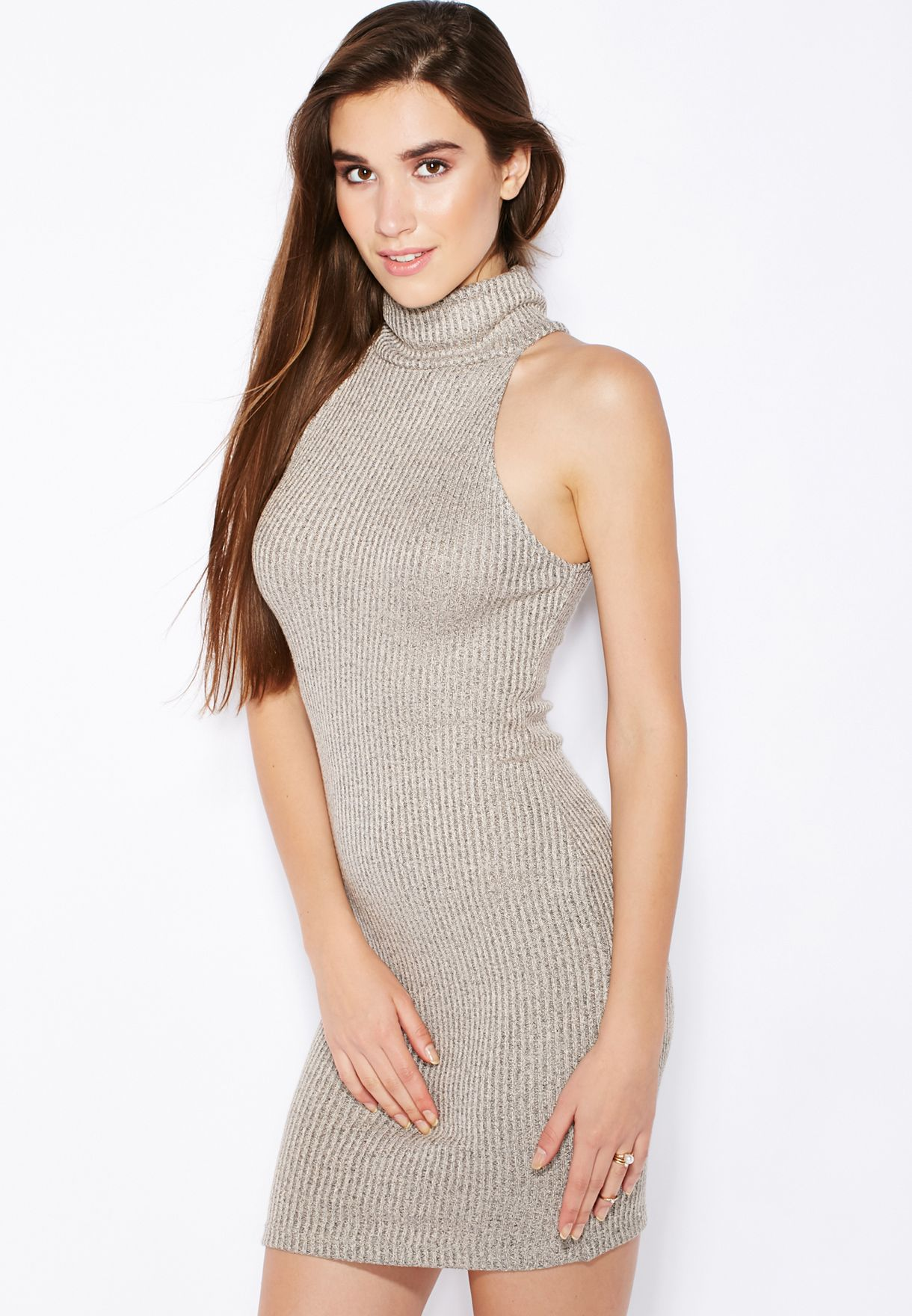 c728e618d63 Shop Topshop grey Ribbed Roll Neck Bodycon Dress for Women in UAE ...