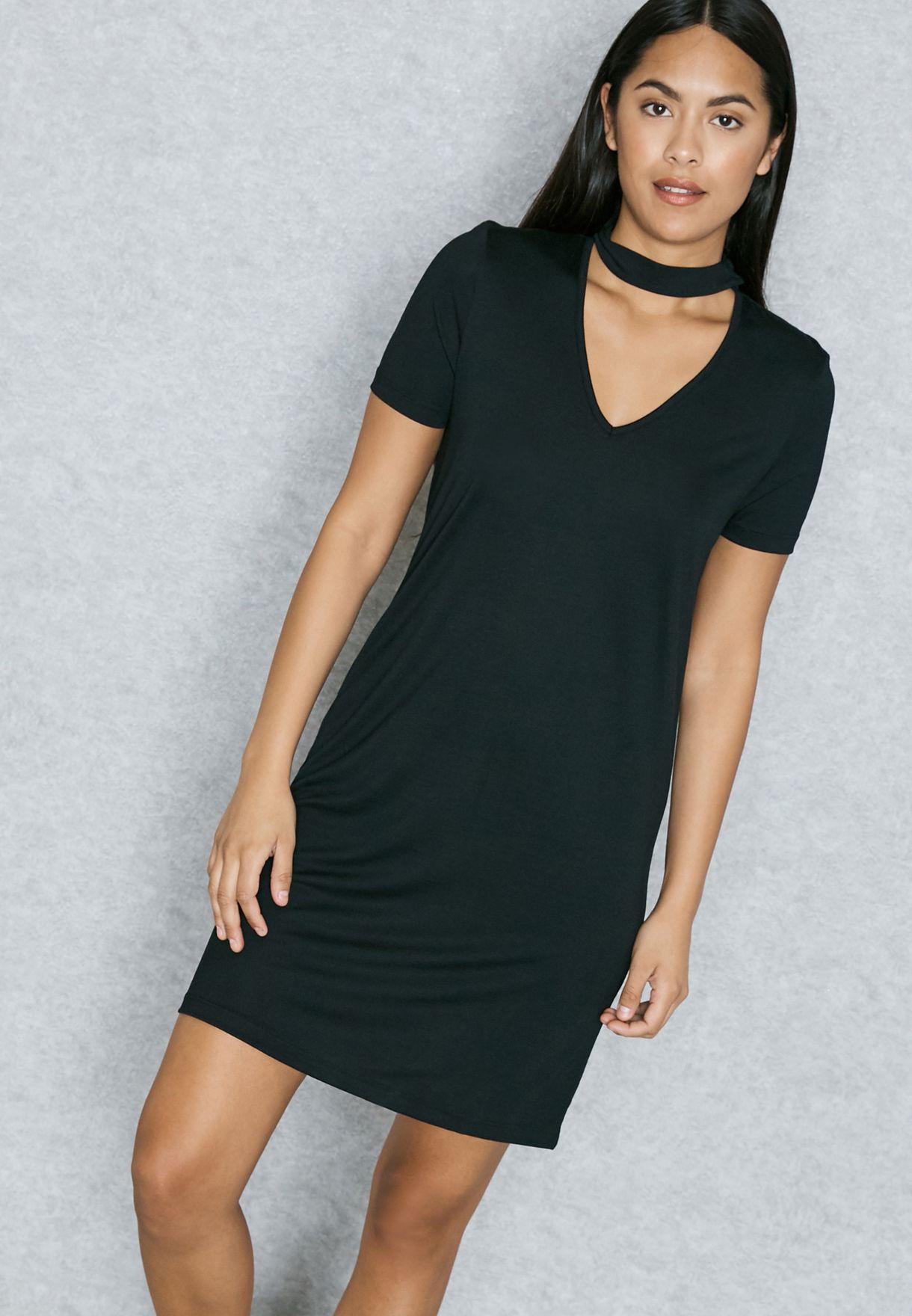 f62ec2284aa78 Shop Vero Moda black Choker Dress 10187853 for Women in Qatar ...