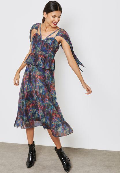 Shoulder Detail Printed Dress