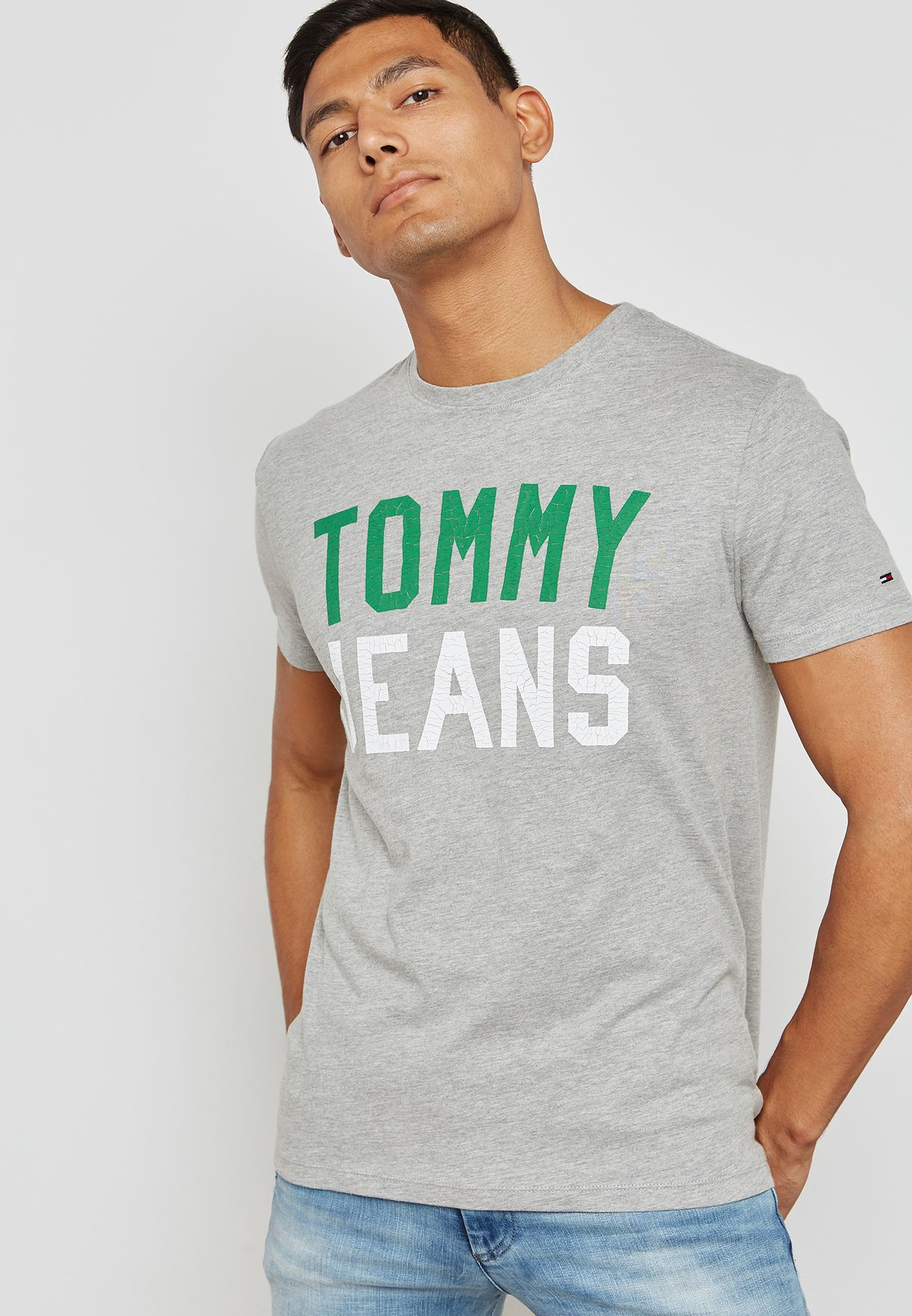 e4b71655 Shop Tommy Jeans grey Tommy Jeans Collegiate Capsule T-Shirt ...