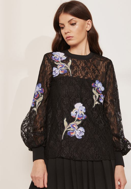 Ardenne Floral Embroidered Sheer Top