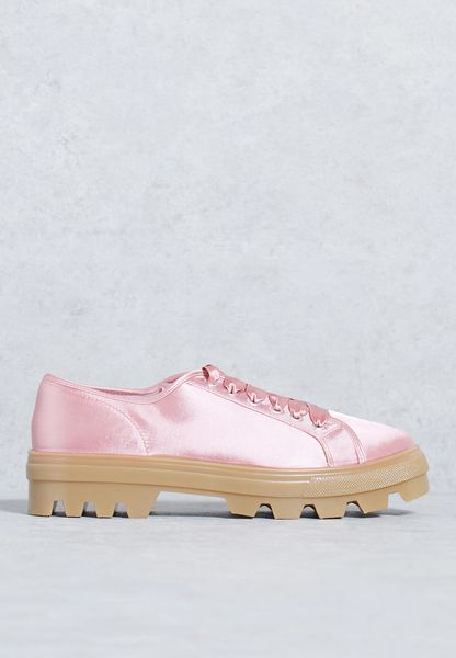 Satin Sneakers With Track Sole