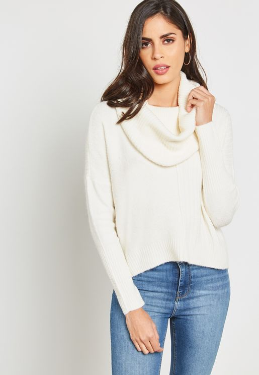Cowl Neck Ribbed Sweater