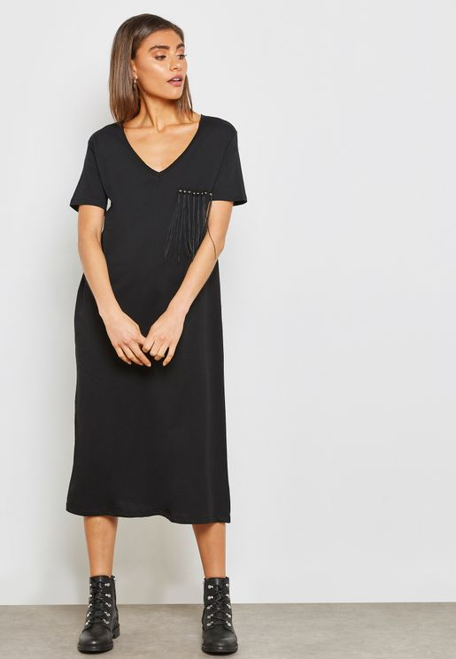 Detailed Fringed Chest T-Shirt Dress