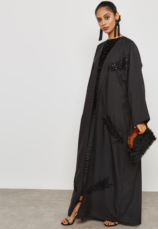 Lace Applique Handwork Abaya
