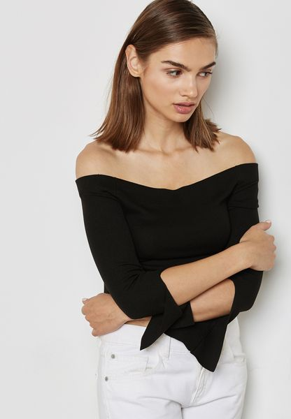 Split Sleeve Bardot Sweater