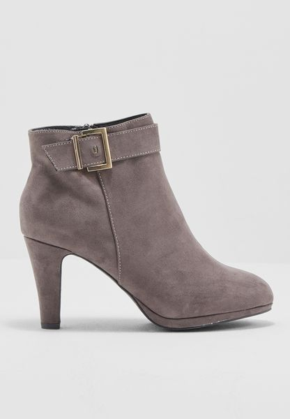 Lily & Franc Grey Joanna Ankle Boots