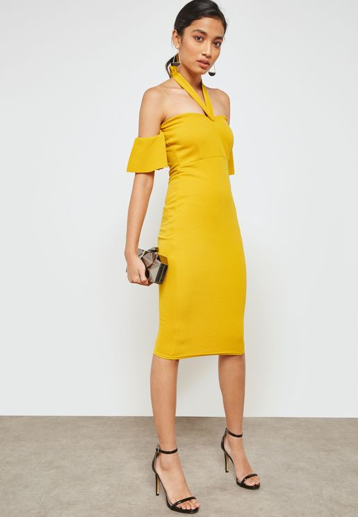 Stretch Crepe Bardot Cut Out Tie Front Dress