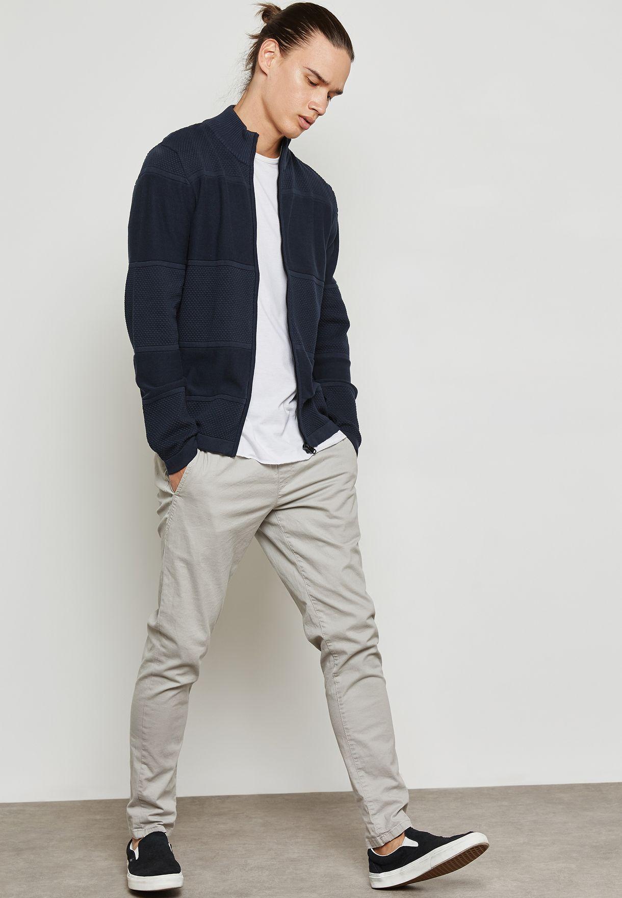 Shop Jack Jones navy Rouge Knitted Cardigan 12125205 for Men in ... 8c93e93fdd6