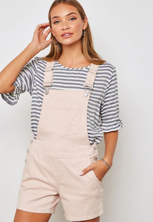Side Button Detail Dungaree