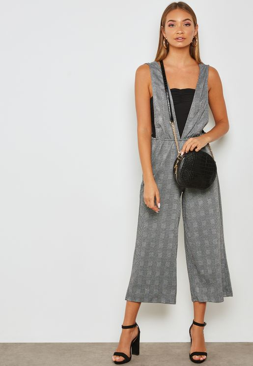 Plunge Neck Checked Jumpsuit
