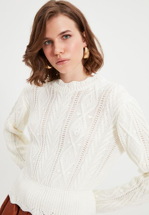 Knitted Peplum Sweater