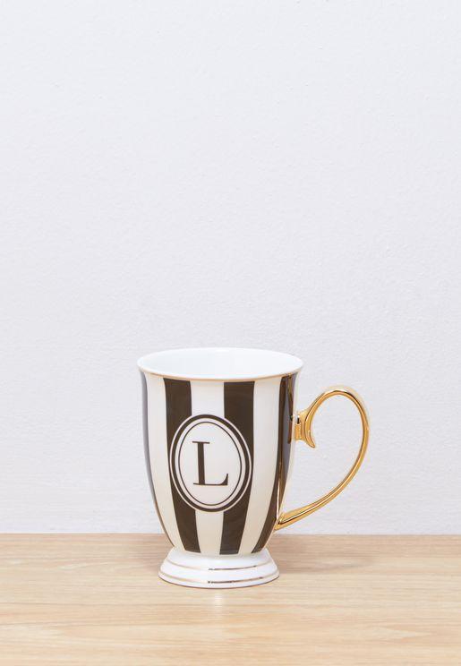 Alphabet Stripy Mug Letter L