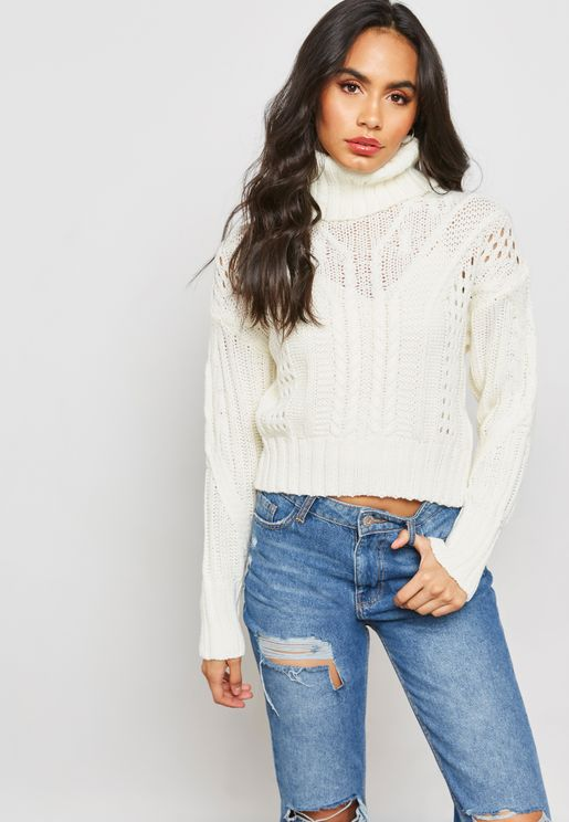 Roll Neck Crop Split Back Cable Sweater