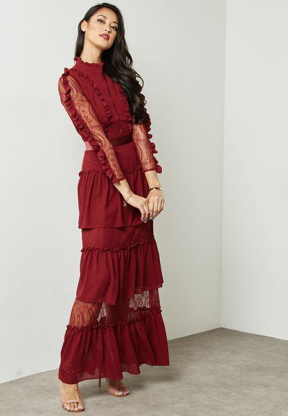 Lace Insert Ruffle Tiered Dress