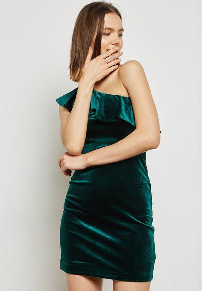 One Shoulder Ruffle Velvet Dress