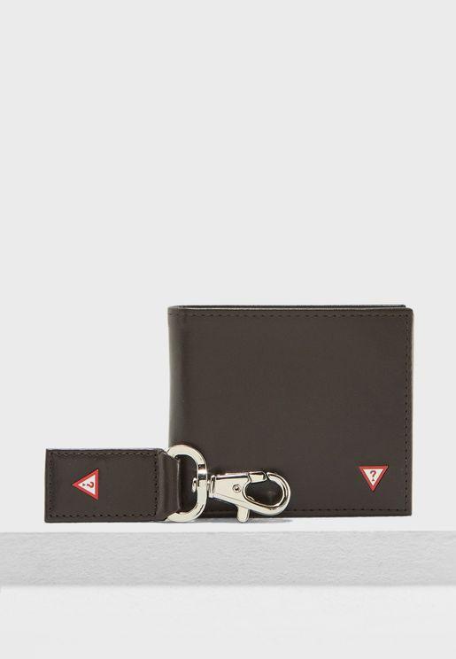 محفظة جلد اصلي + حلقة مفاتيح
