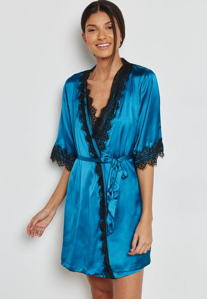 Lace Trim Belted Robe