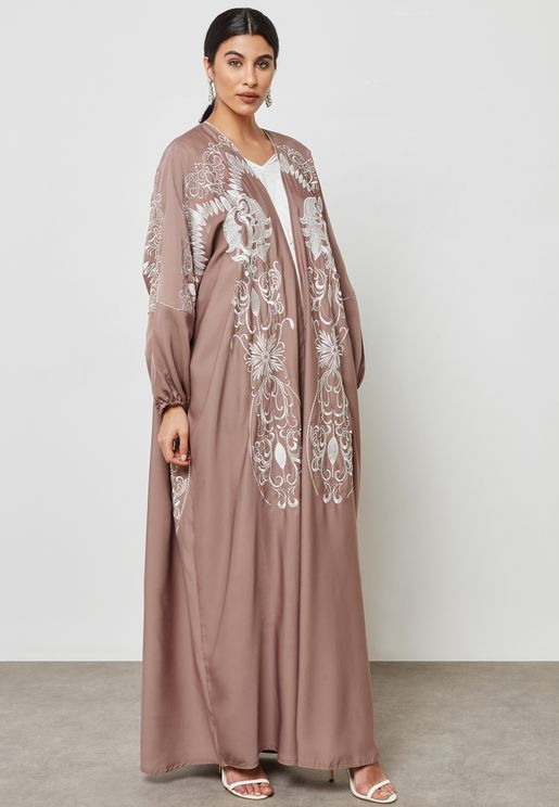 Embroidered Balloon Sleeve Abaya