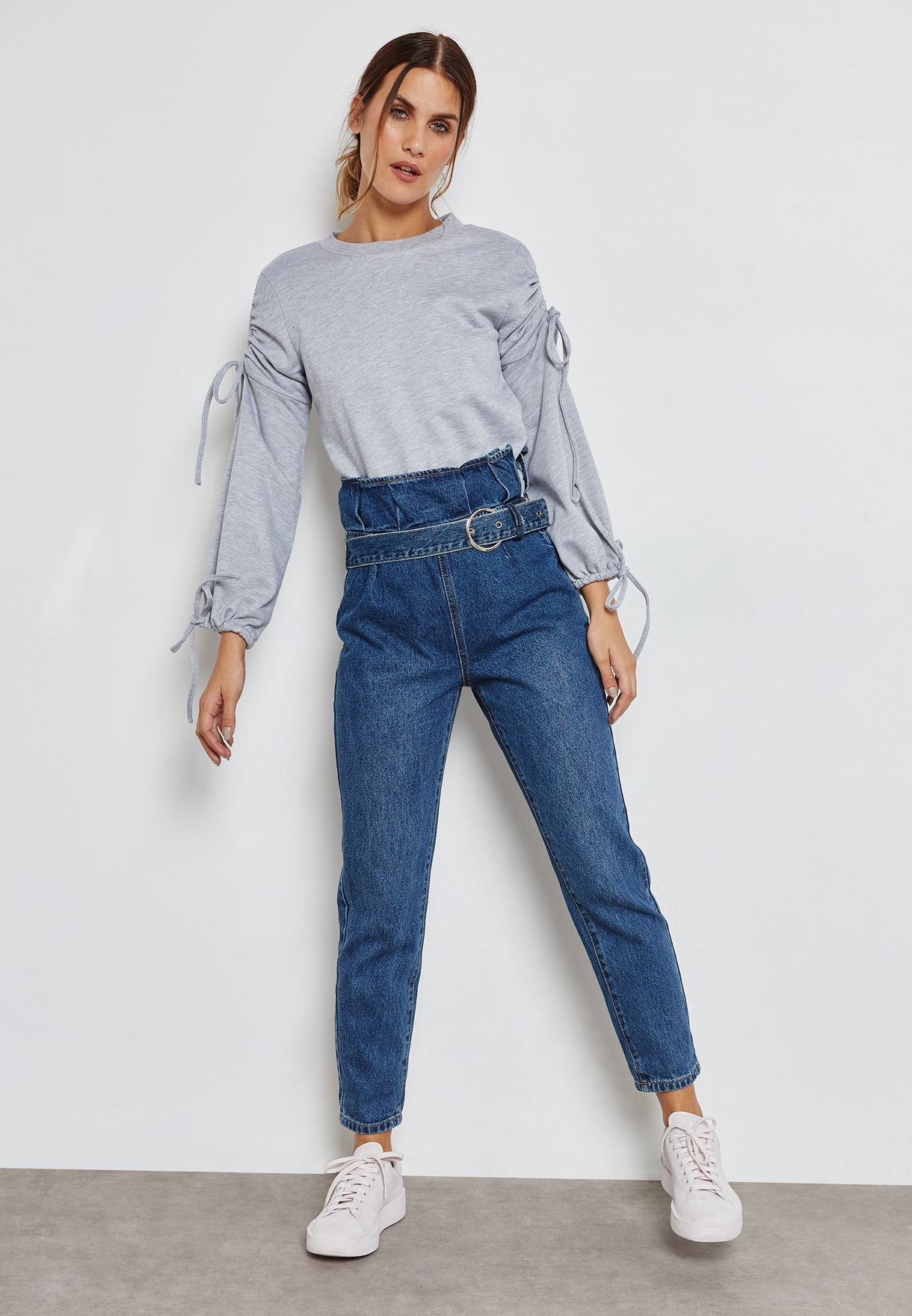 Lace Up Wide Sleeve Sweatshirt