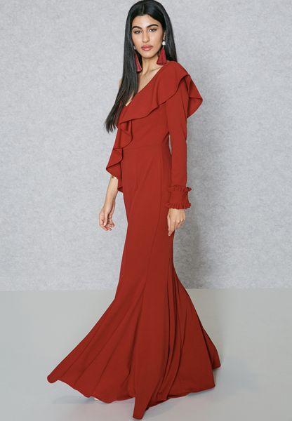 One Sleeve Ruffle Paneled Dress