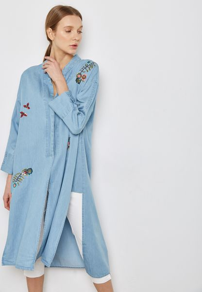 Embroidered Patches Longline Top