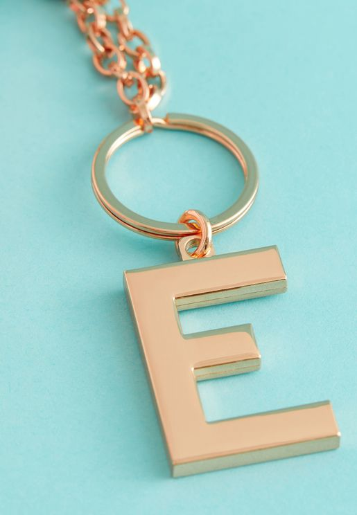 E Initial Luxe Keyring