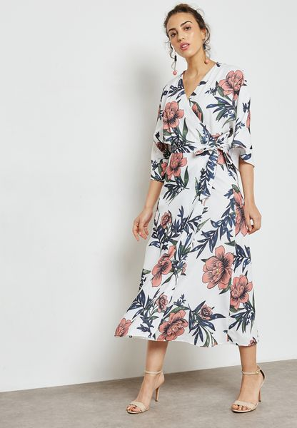 Floral Print Wrap Front Tie Midaxi Dress