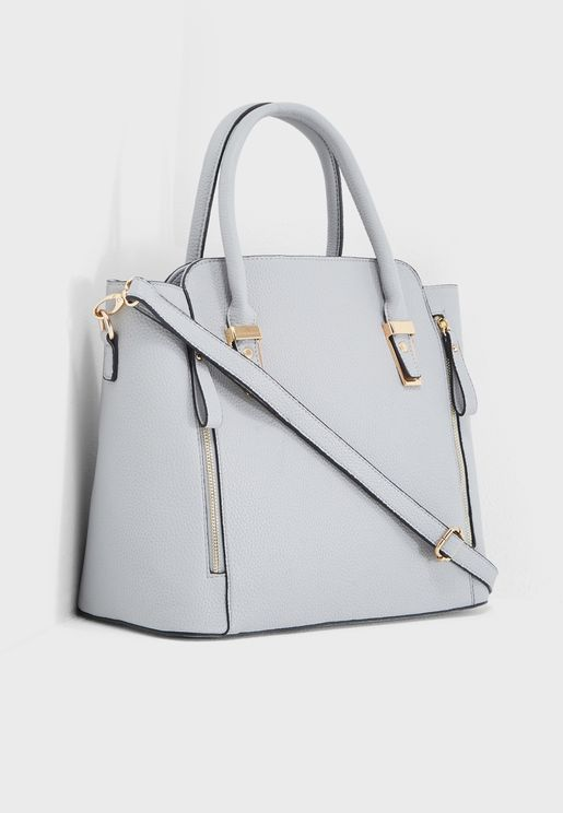Side Zip Hardware Tote